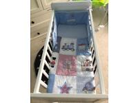 Mothercare crib with mattress and bedding