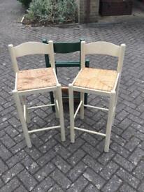 Annie Sloan cream bar stools x 2 plus one original in green