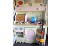 Wooden play kitchen, serving trolley, barbie expresso maker and dyson hoover