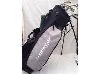 Dunlop Bag with FULL SET Irons & Woods - Left Hand - Irons 3,4,5,6,7,8,9,PW, SW and 1, 3 & 5 WOODS