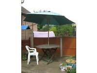 2 large canvas garden parasols, wood frame, cast iron base