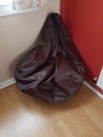 Brown faux leather pearshaped beanbag