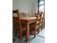 Country Cottage Farmhouse Solid Pine Table & 6 Pine Ladderback Chairs