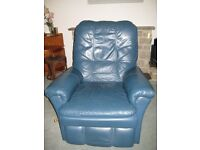 large blue leather armchair recliner in excellent conddition