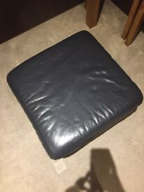 Dark grey/black leather footstool/ pouf
