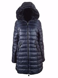AMAVISSE UK - Women Clothes Fashion Puffy Puffer Long Parka Jacket with Faux Fur Hood
