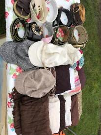 Bundle of handbags, scarves , hats and belts