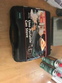 UNO potable gas stove 2 bottles gas new