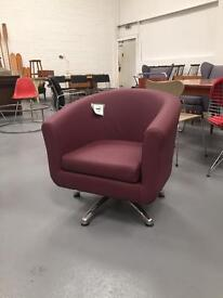 Purple retro swivel tub chair. New with fire labels. PP&D