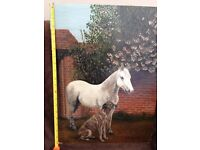 RAYMOND SCOBIE 1984 PAINTING HORSE DOG ANIMAL NEWCASTLE ARTIST **CAN DELIVER**