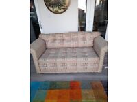 Small Sofa Bed in VGC Dusty Pink Pattern 100% Cotton