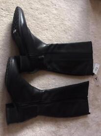 Ladies M&S long leather boots black