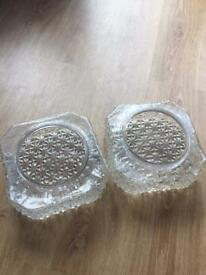 Pair Of Vintage Retro Clear Glass Lamp Shades 1970s