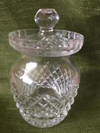 Vintage Waterford Crystal honey/condiment jam jar with slotted lid for spoon