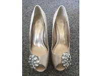 Wedding shoes ~ ivory satin peep toe heels ~ size 6