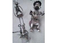 2 x Wine bottle holders metal collectible characters