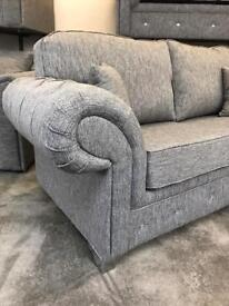 2 Seater Grey chesterfield Sofa