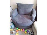 Grey, Swivel, Large Armchair