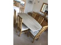 TRAVERTINE (marble) DINING ROOM TABLE WITH SIX CHAIRS