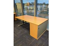 FREE SAME DAY DELIVERY - Rectangular Desk With Tambour Cupboard