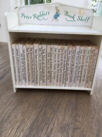 Set of antique 23 Beatrix Potter books in Peter Rabbit's Bookshelf