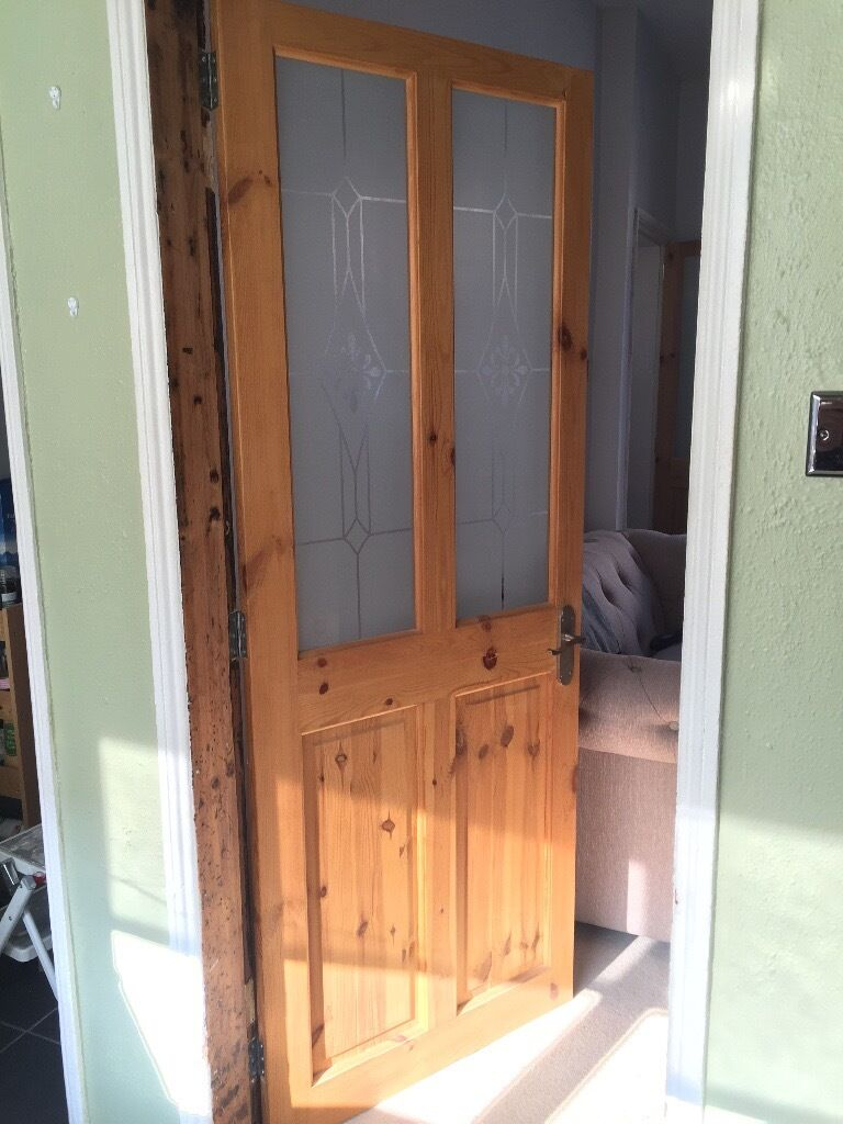 Two matching solid antique pine interior doors with glass panel inserts - Two Matching Solid Antique Pine Interior Doors With Glass Panel
