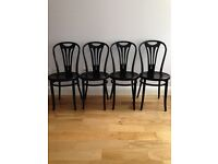 4 BLACK CAFE STYLE CHAIRS WITH BLACK TABLE