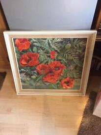 Framed oil on canvas of Poppies, signed
