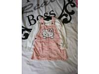 Hello Kitty dungeree dress set
