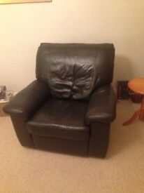 Electric reclining leather chair