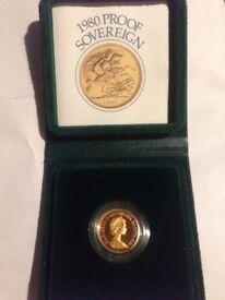 Gold full sovereign 1980 proof