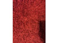 Large Red shaggy rug 5.3ft x 7.7ft nearly new from pet free and smoke free house