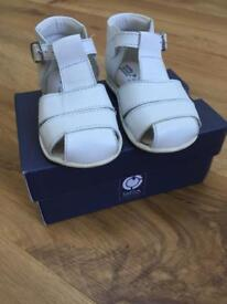 White Spanish Leather Sandals Size 21