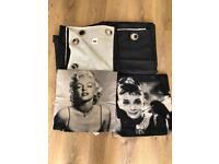 Black satin curtains & cushion covers