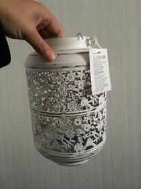 2 White Vintage Distressed Floral Laser Cut Lantern Set 25cm Hanging Wedding Decor Home Style