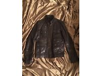 All Saints Habanero Leather Jacket Dark Brown Men's Medium