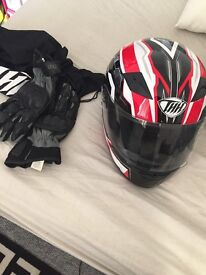 Selling motorbike helmet and gloves brand new also selling 59cc