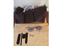 New Louis Vuitton Large 55 Travel Duffel Bag Check Brown Real Leather