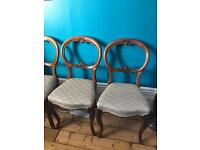 4 x beautiful carved balloon back chairs