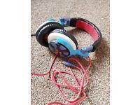 Headphones earphones ifrogz earpollution ronin bright blue red comfort