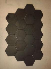 Black hexagon - Vitreous heavy duty tiles
