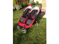 Double buggy: Babyjogger City Mini Double in Crimson/Grey; Excellent condition