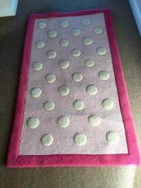 Pink 100% wool rug