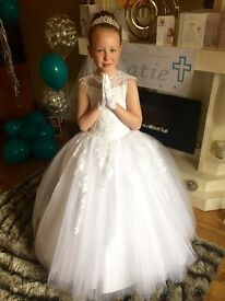 Stunning designer communion dress with tiara , gloves , veil , shoes ,socks , bag and fur balero