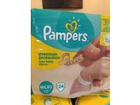 120 Pampers micro nappies (2-5lbs)