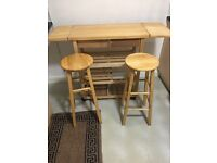 Wood table with 2 seating chairs for kitchen