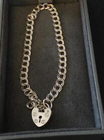 Genuine 925 vintage silver bracelet with a padlock clasp hallmarked 925
