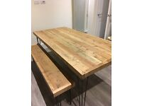 HANDMADE BESPOKE DINING TABLEAND BENCH IN EXCELLENT CONDITION