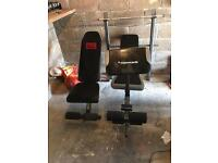 Gym benches and weights