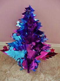 Pink Blue and Mauve Foil Christmas Tree Shaped Ceiling Hanging Decoration Xmas